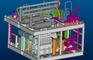 Compact piping layout on an FPSO