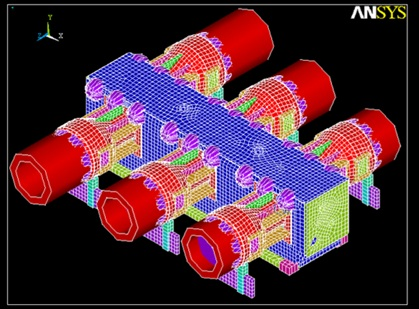 Reciprocating compressor frame and distance piece finite element model ANSYS