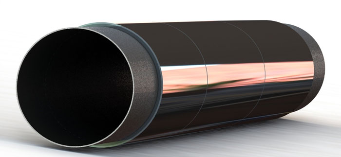 Pipeline vibration - pipe, sleeves and epoxy layer