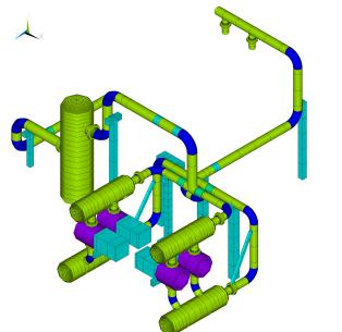 FE model compressor piping system