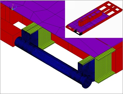 Detailed drawbar model to evaluate a new skid design