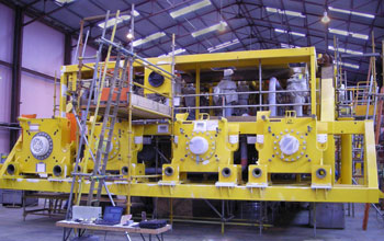 Subsea production manifold during construction