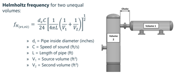How to calculate the Helmholtz frequency for two unequal volumes